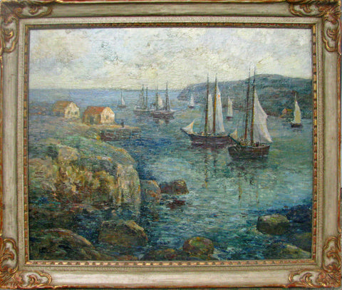 "Paul Bernard King (American, 1867-1947), ""Monhegan Island Harbor"", oil on canvas, signed"