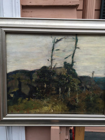 "Randall Davey (American, 1887-1964), ""Monhegan"", 1916, oil on board, signed and dated"
