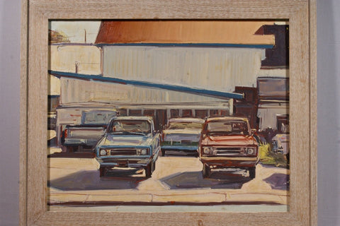 George Van Hook (American, b. 1954), Ford Trucks in Lot, Eureka, California, oil on canvas, signed
