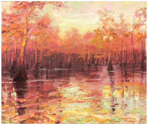 Barry Thomas (American, b. 1961), Cypress Trees at Sunrise, 2006, oil on panel, signed