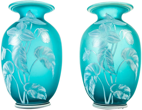 Pair of American Turquoise Glass Vases, ca. 1960s