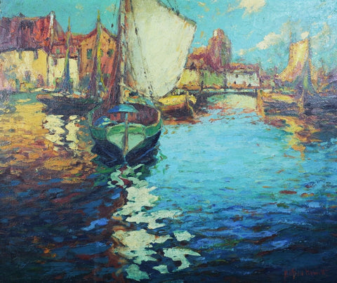 "Clifton Hewitt (American, early 20th century), ""Fishing Boats, Deal, England"", oil on canvas, signed"