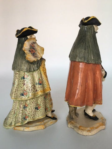 Pair of Italian Polychrome Ceramic Figures, 18th century
