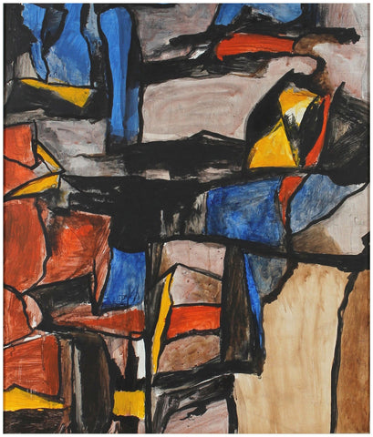 Gustav Friedmann (Austrian, 1897-1982), Abstract, ca. 1940-50s, acrylic on masonite