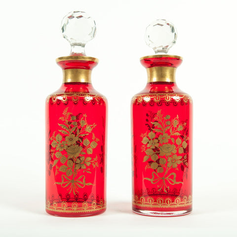 Pair of French Decanters with Floral Gilt Decoration