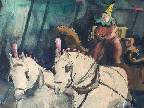 Robert Chase (American, b. 1919), Circus Scene, watercolor, signed