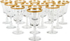 Set of Thirteen French Gilt and Cut Glass Wine Goblets, ca. 1950s