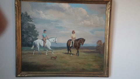 Jean Bowman (American, 1918-1994), Two girls on horseback, Middleburg, Virginia, 1947, oil on canvas, signed and dated