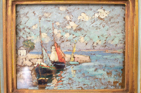 Clarence Montfort Gihon (American, 1871-1929), Harbor Scenes, oil on board, signed, two works