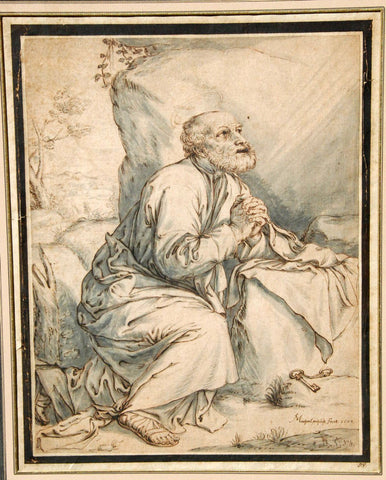 Michael Philipp the Elder (German, active 1652-1687), The Penitent Saint Peter, 1657, pen and ink on paper