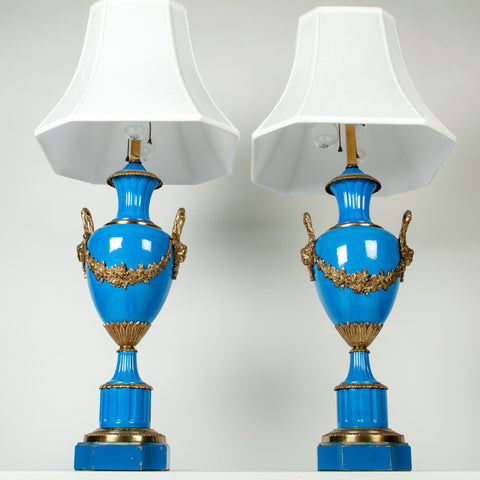 Pair of French Gilt-Brass Mounted Blue Porcelain Lamps, ca. 1900