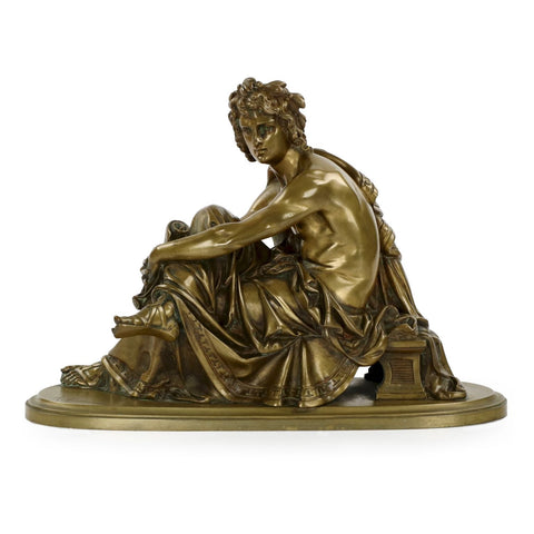 After Albert-Ernest Carrier-Belleuse (French, 1824-1887), Seated Virgil, patinated bronze, ca. 1860, signed