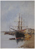 Eugène Galien-Laloue (French, 1854-1941), Ship in the Harbor, ca. 1910, gouache on board, signed