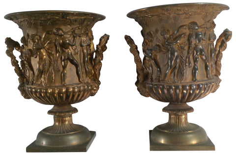 A Pair of French Bronze Urns, late 19th century