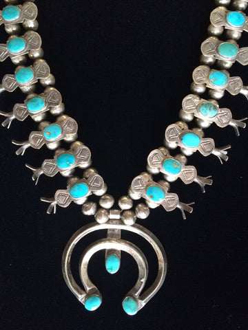 Navajo Turquoise and Silver Squash Blossom Necklace, ca. 1940s