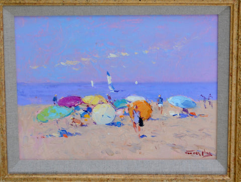 Niek van der Plas (Dutch, b. 1954), Beach Scene, Nantucket, MA, oil on board, signed
