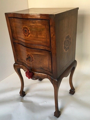 Italian Walnut and Fruitwood Inlaid Two Drawer Commodino, ca. mid 18th century