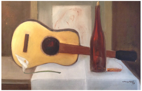 Manuel Chong Neto (Panamanian, b. 1927), Still life with guitar and bottle, 1978, oil on canvas, signed and dated