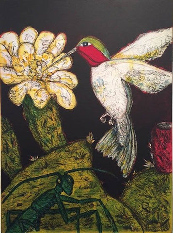 Frank X. Tolbert (American), Ruby-Throated Hummingbird, 2014-15, etching in colors, signed, ed. 24