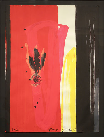 "Tony Soulie (French, b. 1955), ""Red, Yellow, Black"", 2012, mixed media, signed and dated"