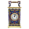 French Brass and Cloisonné Enamel Carriage Clock, ca. 1900