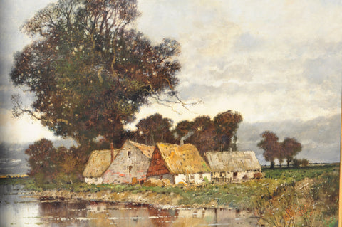 Karl Heffner (German, 1849-1925 ), Little houses near a pond, oil on canvas, signed