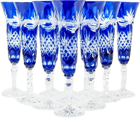 Set of Ten Etched and Frosted Cut Glass Champagne Flutes