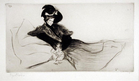 "Edgar Chahine (French, 1874-1947), ""Ada"", 1901, drypoint, signed"