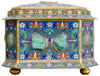 Chinese Hardstone Inlaid Cloisonne Enameled Gilt Metal Casket, 20th century