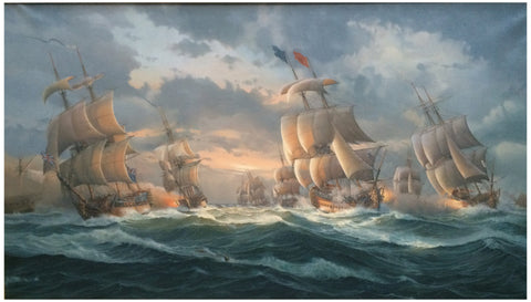 "William Henry Bishop (British, b. 1942), The ""Battle of Quiberon Bay"", 1993, oil on canvas, signed and dated"