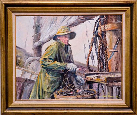 Ward Mann (American, 1921-2005), Hauling In, 1979, oil on masonite, signed