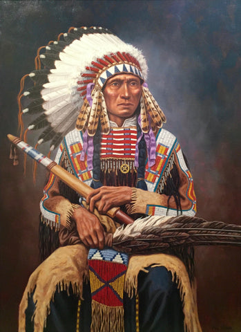 Paul Surber (American, b. 1942), Eagle Feather, oil on canvas, signed