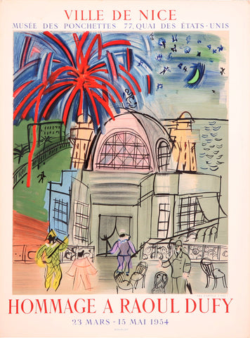 "After Raoul Dufy (French, 1877-1953), ""Hommage a Raoul Dufy, Nice"", 1954, lithographic poster"