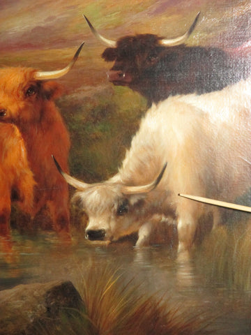 John W. Morris (British, 1865-1924), Highland Cattle, oil on canvas, signed