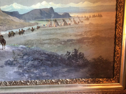 Frederick Schafer (German/American, 1839-1927), Indian Encampment, oil on canvas, signed