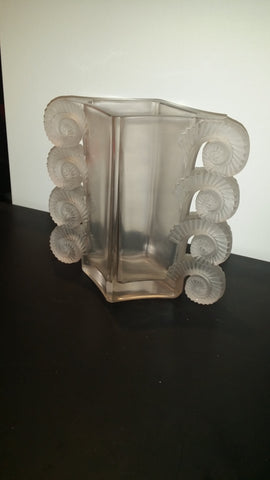 "Lalique ""Amiens"" Frosted Light Pink Glass Vase, France, ca. early 20th century"