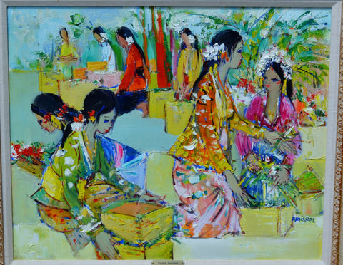 Yolande Ardissone (French, b. 1927), Polynesian Marketplace, oil on canvas, signed