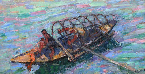 Joseph Raphael (American, 1869-1950), Fishing Boat, oil on canvas