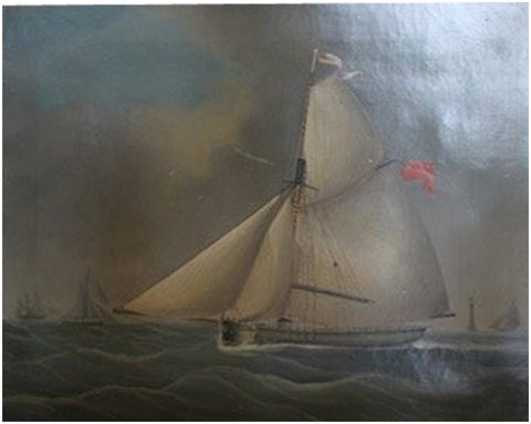 Attributed to John Tudgay (British, active 1836-1865), A racing cutter under full sail, oil on canvas, signed