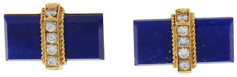 Pair of Vintage 18K Yellow Gold, Lapis, and Diamond Cufflinks, Tiffany & Co.