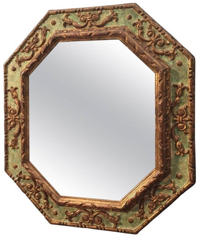Italian Parcel Gilt and Polychrome-Painted Octagonal Mirror, 19th century