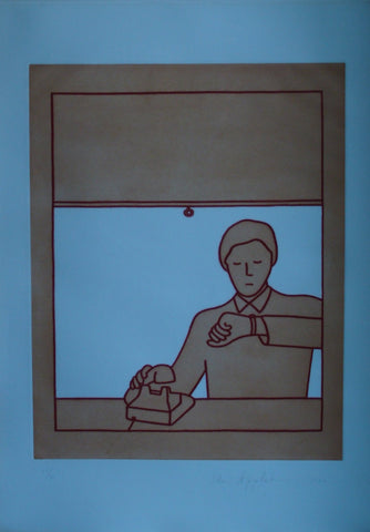 "Ida Applebroog (American, b. 1929), ""#2"" from ""Executive Tower"" suite, 1982, aquatint in colors, signed, ed. 30"
