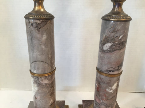 Pair of French Marble and Doré Bronze Column Lamps, ca. 1890