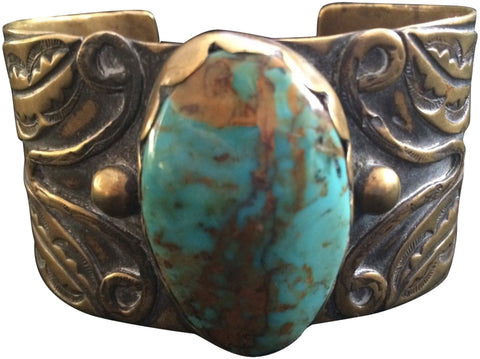Santo Domingo Brass and Turquoise Bracelet, Tony Aguilar (Dominican, 1919-2002)