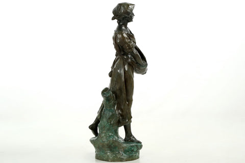 "After Edouard Drouot (French, 1845-1914), ""La Semeuse"", bronze, modele ca. 1902, signed"