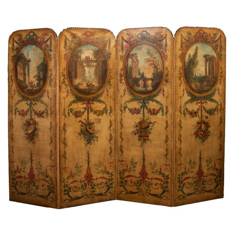 Continental Four Panel Painted Room Screen or Divider