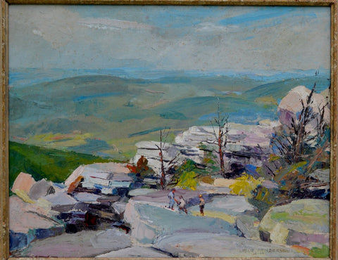 Leslie Henderson (American, 1895-1988), In Cragsmoor, N.Y., 1949, oil on board, signed