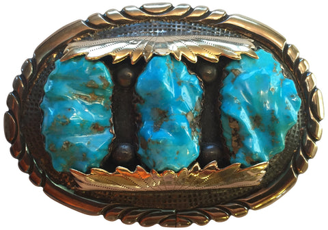 Zuni Silver, Yellow Gold, and Turquoise Mens Belt Buckle, Robert and Bernice Leekya, ca. 1980