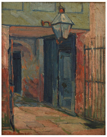 Margaret Frances Robinson (American, 1908 -1985), New Orleans Courtyard, oil on board, signed