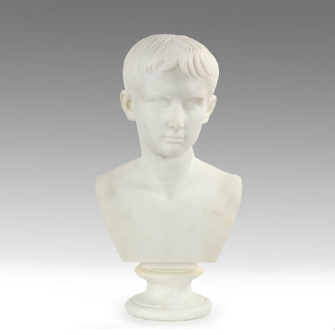 Sculpted Carrara Marble Bust of a Young Caesar Augustus, Grand Tour, Italian, 19th century
